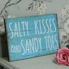 Blue 'Salty Kisses..' Plaque Shabby Wall Art Chic Home Accessory Beach Sign Gift