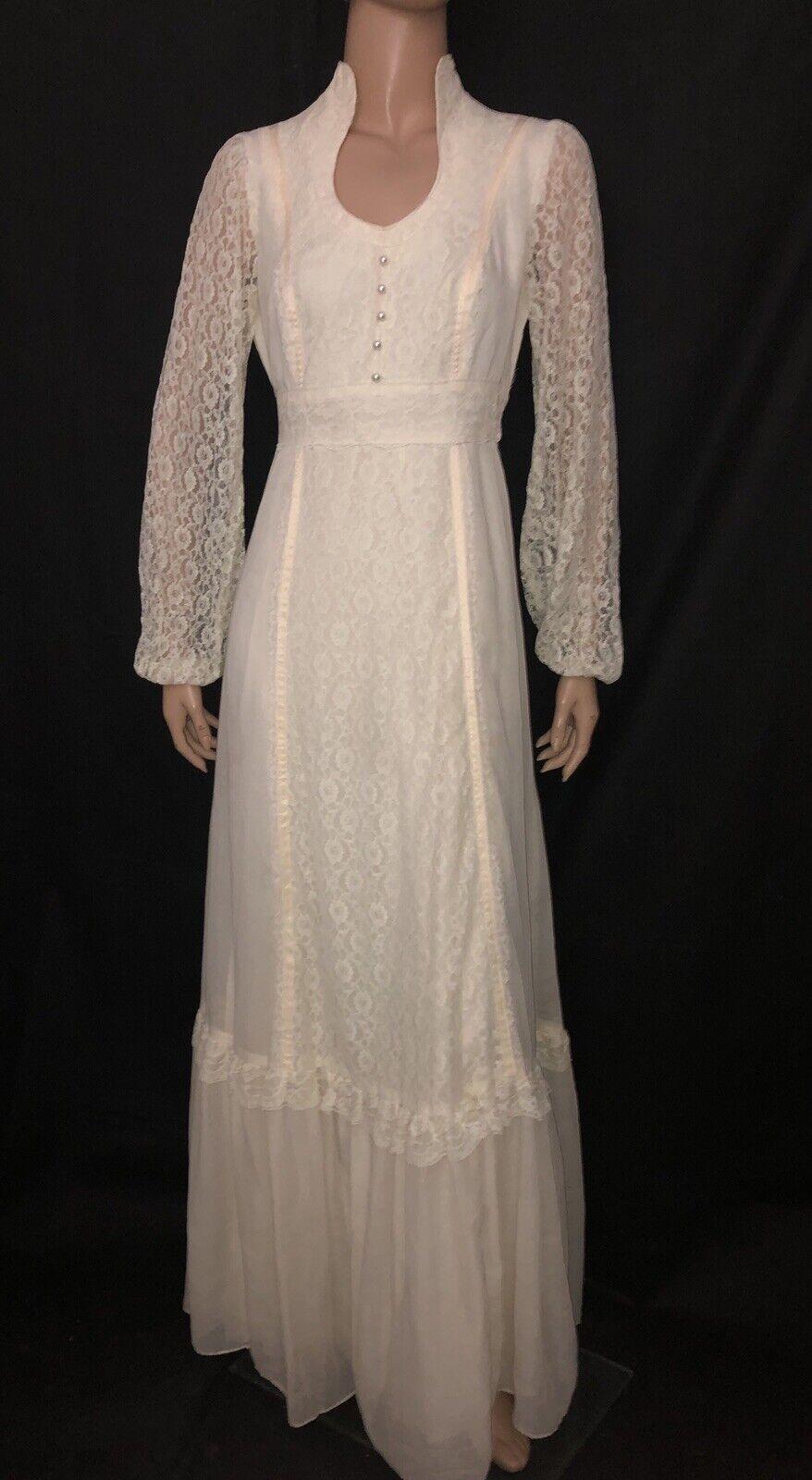 Vtg Gunne Sax Style Wedding Dress Ivory Gauze Lace Maxi Gown Ruffle Victorian 36