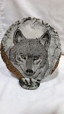 SHAPES OF CLAY BY STAN - MT ST HELEN NORTH AMERICAN GRAY WOLF  PLAQUE WITH STAND