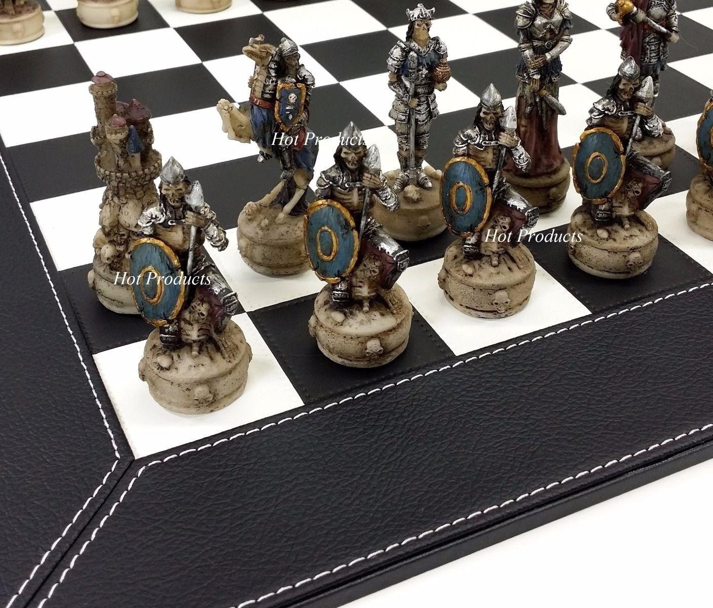 Squelette  Slayer Gothique Fantasy Crâne Chess Set avec Cuir Synthétique Noir Board  très populaire