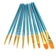 10Pcs Nylon Hair Acrylic Watercolor Round Pointed Tip Artists Paint Brush Set