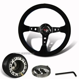 350mm-Black-Suede-Leather-Deep-Dish-Steering-Wheel-Hub-For-MITSUBISHI-ECLIPSE