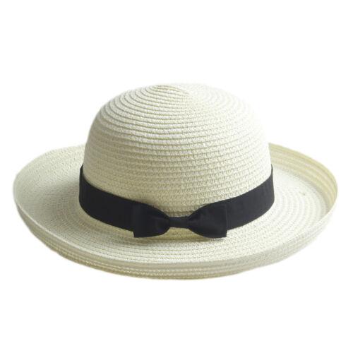 Adult Kids Bowler Derby Upturn Wide Brim Straw Hat Bowknot  Beach Sun Cloche Cap