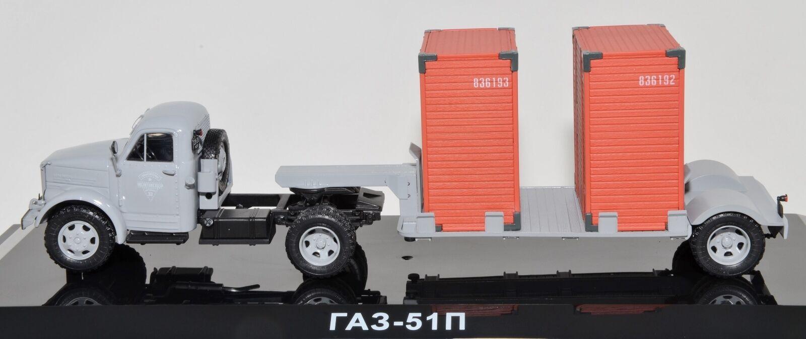 1/43 DIP MODELS 905101 russian truck GAZ 51P  Gris w T213 trailer USSR CCCP NIB