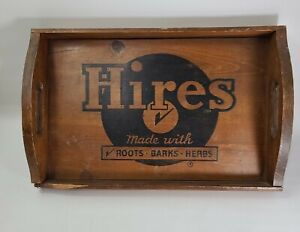 Vtg Hires Root Beer Wooden Serving Tray - Roots Barks Herbs Dark Wood Logo
