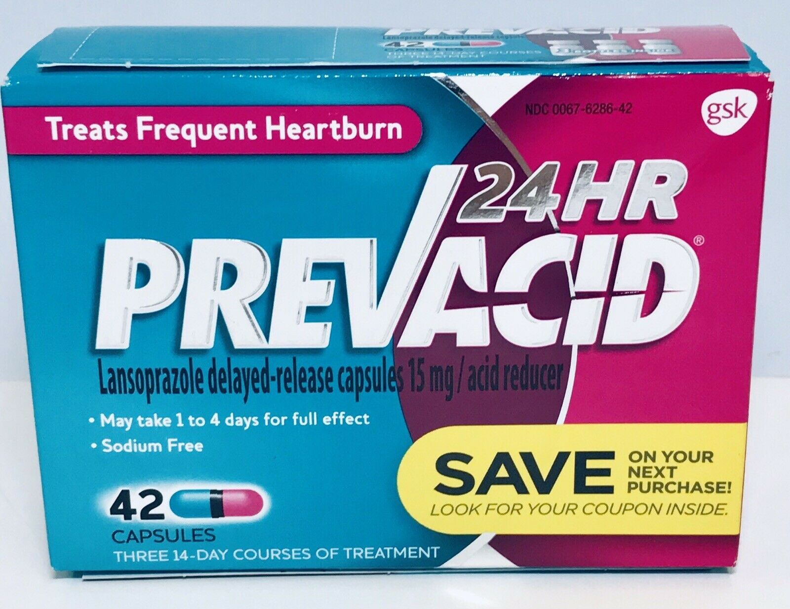 Prevacid 24 Hr Treats Frequent Heartburn  42 Capsules Exp 2020+ (6426) 1
