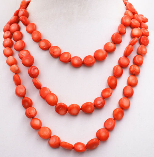 """New 6x10mm Orange Red Coral Freeform Loose Beads necklace 50 /"""" AAA"""