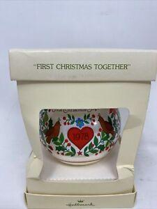 Vtg Hallmark Christmas Satin Ornament First Christmas Together 1978 Birds Flower