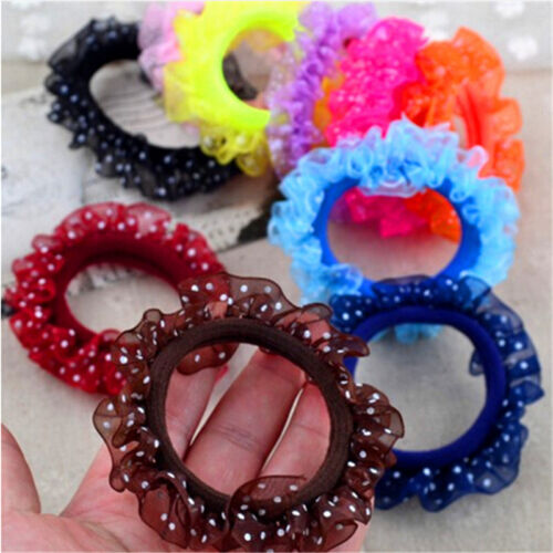 10X Beautiful Lace Girls Elastic Hair Band Hair Rope Scrunchie Ponytail Holder /&