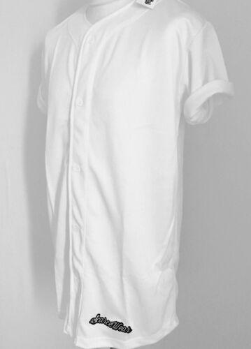 "Scarcewear Hommes Blanc Baseball Jersey Chemise Longue Longueur 34/"""