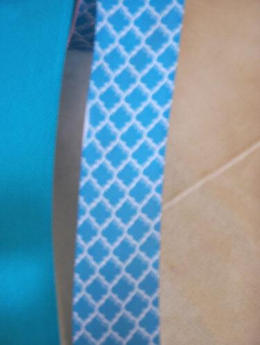 "1m 2m Azul Cable Cinta del borde 3,8 Cm 1.5 /""cinta de satén verde azulado quatrefoil Azul"