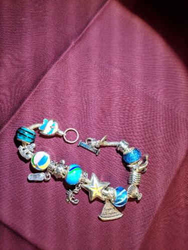 Bracelet Charm Bracelet August Vintage Charm Brac… - image 1