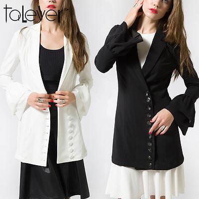 New Fashion Women Business Work OL Blazer Dress Flare Sleeve Summer Outwear Coat