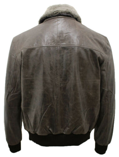 Jacket Collar With Detachable Leather Grey A2 Bomber Men's Sheepskin Hide XvwR1znx
