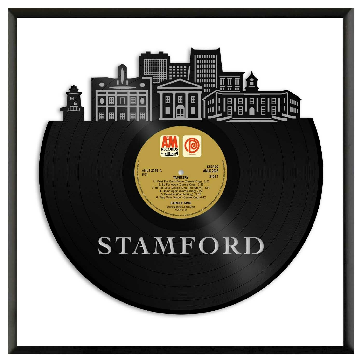Stamford CT Vinyl Wall Art Cityscape Exclusive Gift Home Room Decoration Framed