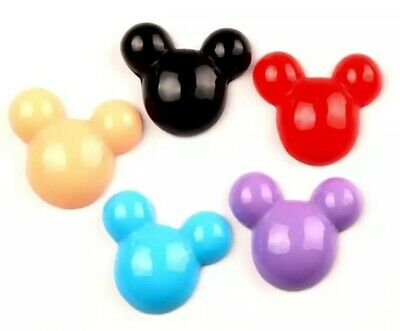 6PC Mickey Mouse Hand 3D Flatback Embellishment Hair Bows Cupcake Toppers Crafts