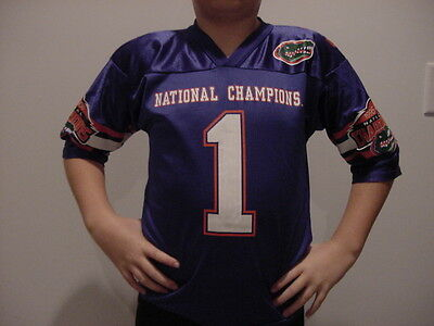 reputable site 03ec9 dff4a AWESOME Florida Gators Youth Sz 6-8 Blue #1 Football Nat Champs Jersey,  NICE | eBay