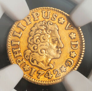 1742, Spain, Philip V. Rare Gold ½ Escudo Coin. (1.7gm!) Better Date! NGC XF-45!