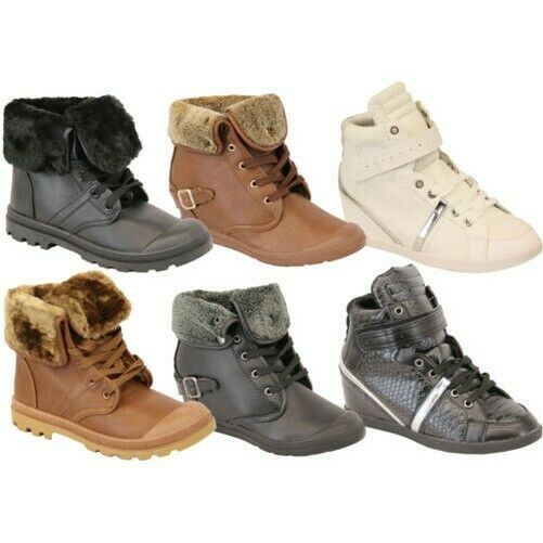 Ladies Boots Womens Shoes Military High Ankle Lace Up Buckle Fur Casual  Winter for sale online | eBay