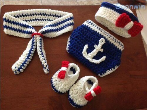 Neugeborene Baby Knit Strick Fotoshooting Kostüm Marine Mütze Höschen Booties