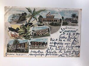 Postkarte-Gruss-aus-Kamerun-1899-Drei-Stueck