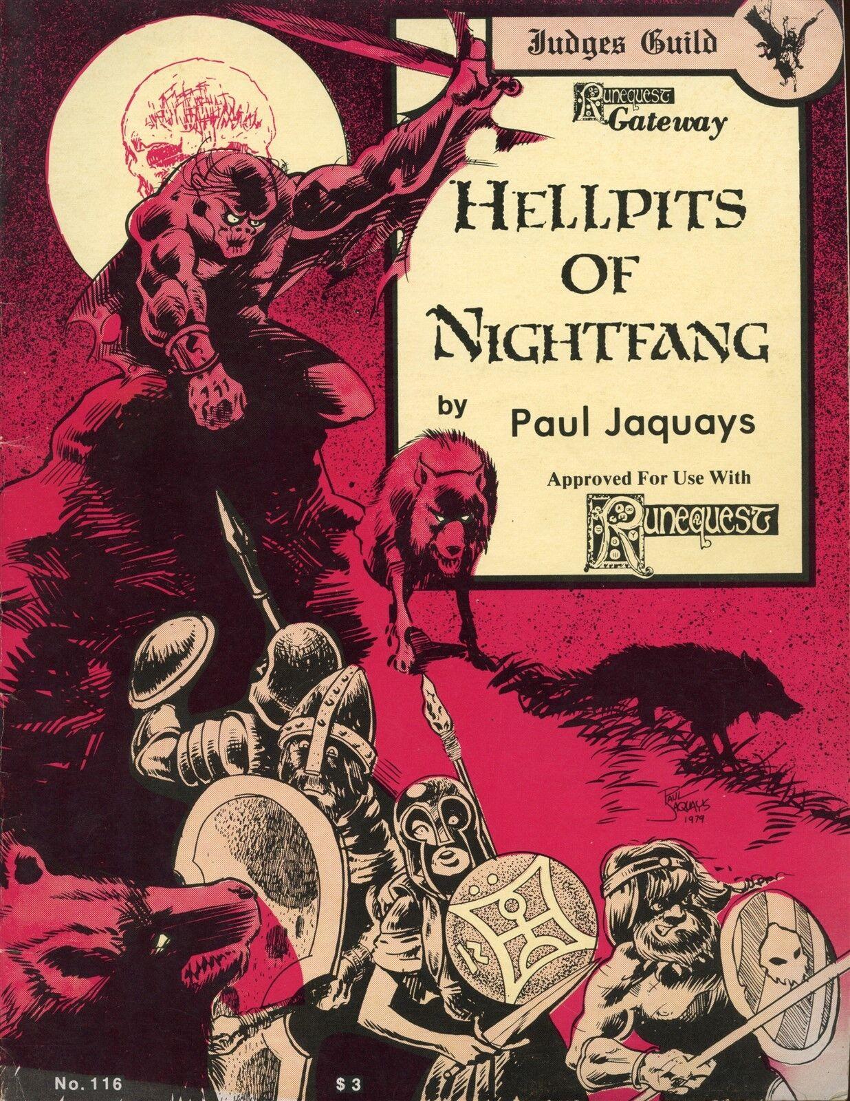 HELLPITS OF NIGHTFANG RUNEQUEST 116 JUDGES GUILD 1979 VGC