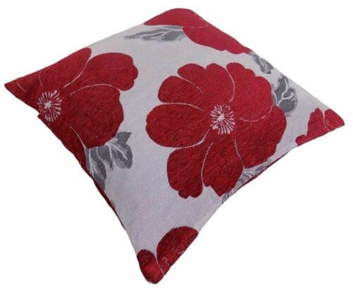 """POPPY RED WHITE SILVER CHENILLE THICK CUSHION COVER 22/"""" 55CM"""