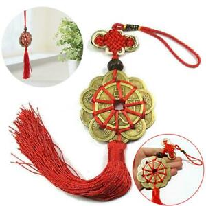 Handmade-Red-Rope-Feng-Shui-Chinese-Knot-Hanging-Tassel-Wealth-Lucky-Coins-Decor