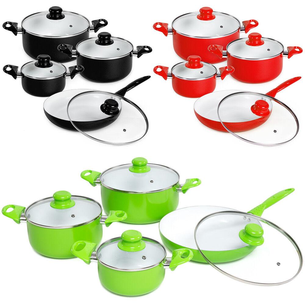 8 Pièce Céramique Cuisson Pots Couvercles Pan Pot Casserole Cookware Set
