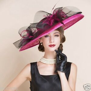 New Women's Kentucky Derby Church Wedding Noble Dress hat 100%Flax feather hat
