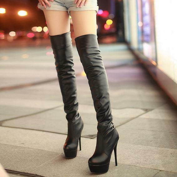 Womens Stilettos Platform pull on Stretch Over The Knee Thigh High Boots shoes