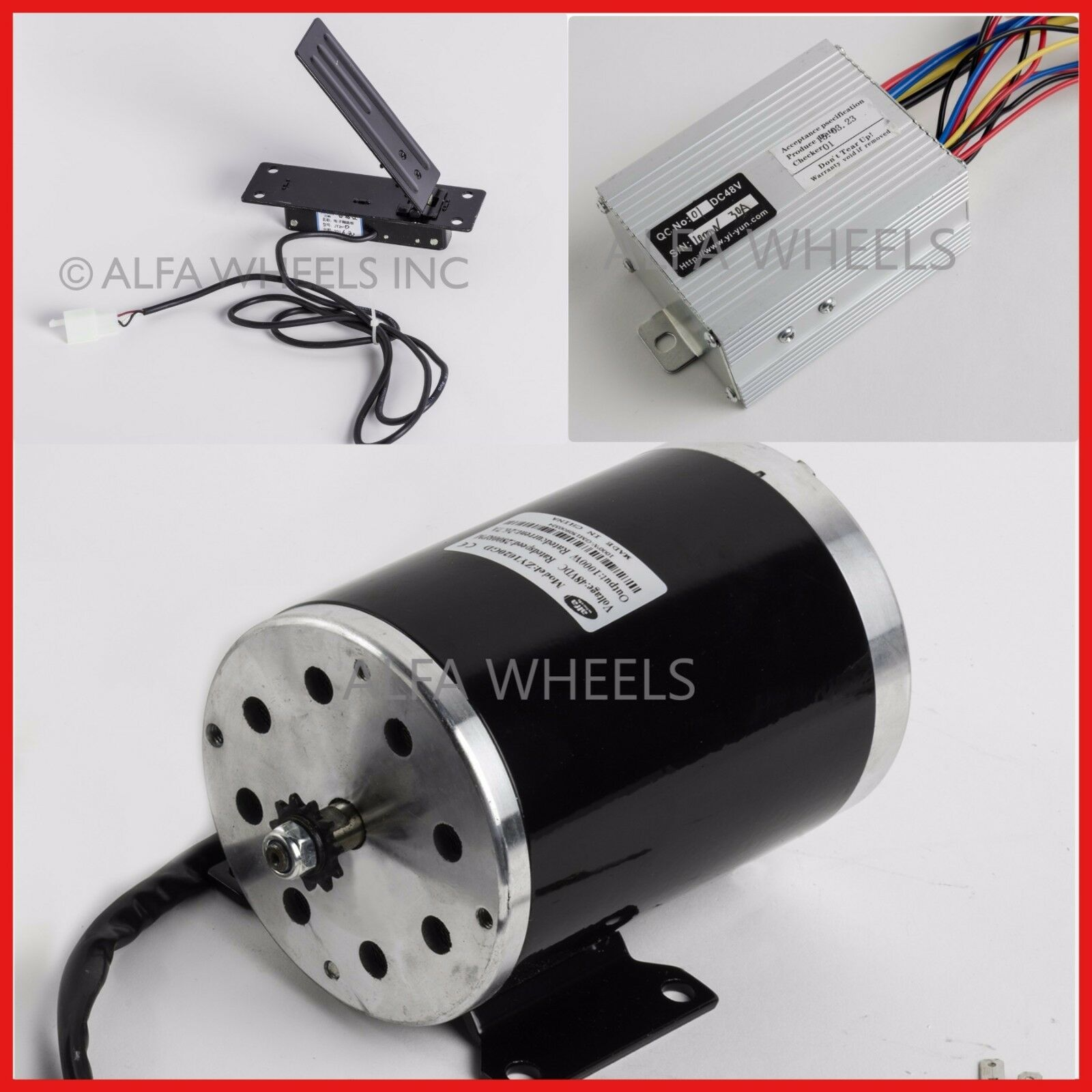 1000 W 48V DC electric motor kit w base speed controller & Foot Pedal Throssotle