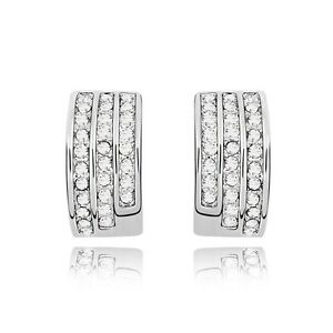 0271c5598 18K White Gold Plated Made With Swarovski Element Half Moon Stud ...