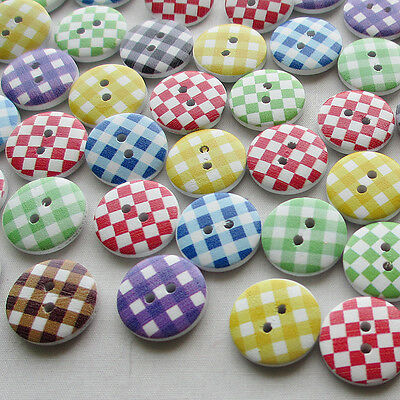 E584 15mm Grid Wood Buttons Sewing Kid's Craft Mix Lots Scrapbooking 60/300pcs