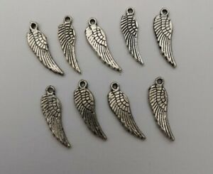 5 Tibetan Silver Large Angel Wings Feather Charms Pendants for Jewellery Making