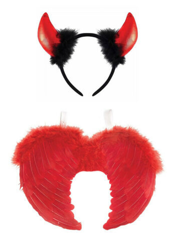 Red Devil Set Feather Wings /& Fluffy Horns Fancy Dress Naughty Halloween Costume
