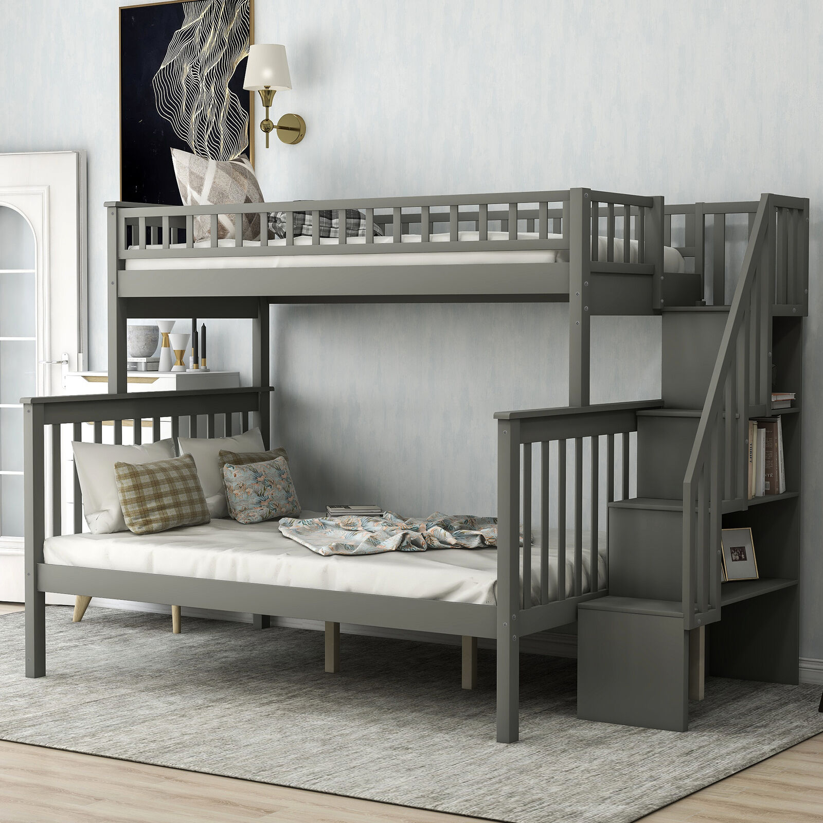 Twin Over Twin Bunk Bed With Trundle 3 Beds Wood Storage Drawers