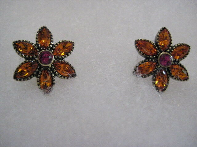 HEIDI DAUS Sweet Summer Style (Tangerine Fuchsia) Pierced Earrings (Orig. 69.95)