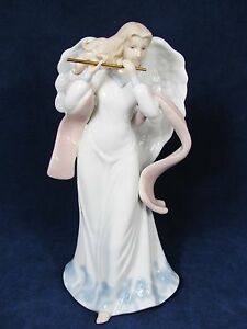 White Pink Blue Porcelain ANGEL Figurine Statue Playing