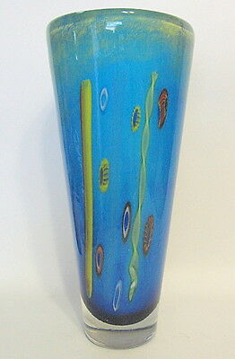 Abstract Green Blue Art Glass Vase Hand Blown 12 Inch Millifiori Accents