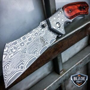 DAMASCUS-Etch-TACTICAL-Spring-Assisted-Open-Pocket-Knife-CLEAVER-RAZOR-Blade-NEW