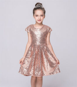 Kid-Girls-Sequin-Pageant-Party-Prom-Occasion-Communion-Formal-Wedding-Dress-Gown