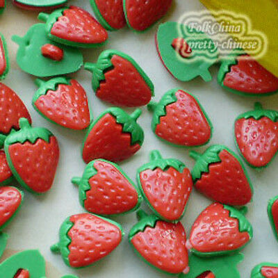 Red Strawberry 13mm Plastic Buttons Sewing Scrapbooking Collectable Craft SBB