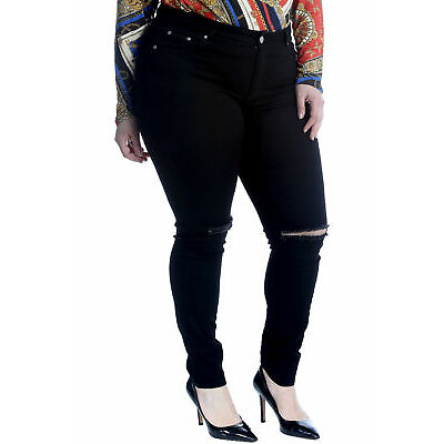 Dames Grande taille jeans Ripped Frayed Jambe droite Pantalon Doux Nouvelle