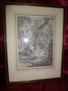 ENGRAVING-Nicolas-De-Larmessin-Lovers-in-forest-PRE-RAPHAELITE-Antique-etching