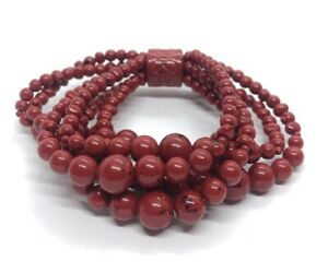 Vintage-Bracelet-Red-Bead-Stretch-Strand