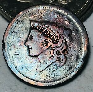 1838 Large Cent Coronet Head 1C Ungraded Good Date Early US Copper Coin CC5748