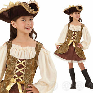 25b13fb01 GIRLS GOLDEN PIRATE FANCY DRESS COSTUME CHILDS GIRL MAIDEN OUTFIT ...