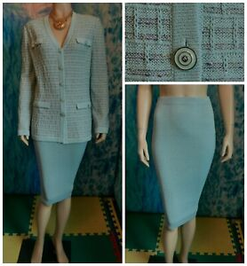 St John Collection Knits Blue Jacket Skirt L 12 14 2pc Suit Buttons Multi-color