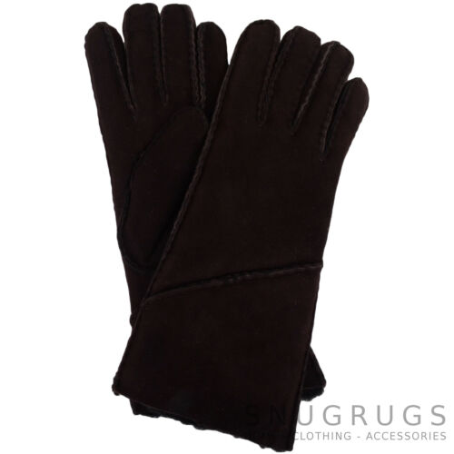 Womens Genuine Sheepskin Gloves with Turn Back Long Cuff Ladies